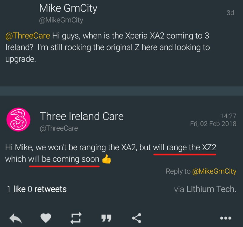 Twitter từ công ty Three Ireland
