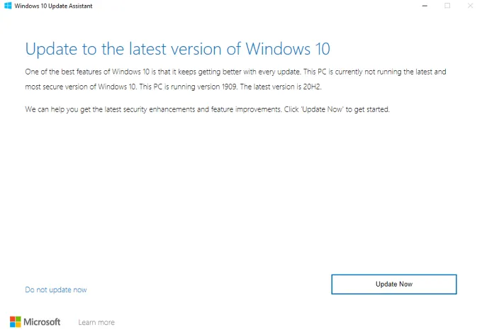 Sử dụng Windows Update Assistant